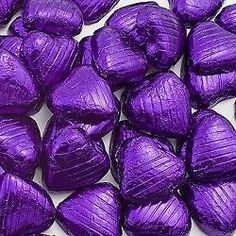 100 CADBURYS PURPLE COLOUR CHOCOLATE FOIL HEARTS - WEDDING FAVORS
