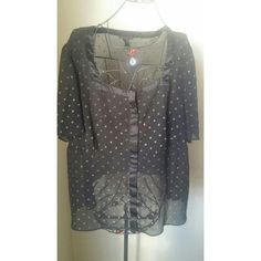 Lane Bryant top Black with gold polka dots Lane Bryant Tops