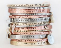 BlessingBands / Mantra Bangles / Power Phrase Bracelets / Inspirational Jewelry / Gift for Her / Unique Gift / Positive Jewelry by amywaltz on Etsy https://www.etsy.com/listing/229602515/blessingbands-mantra-bangles-power