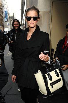 Black, black black punctuated by the ever elusive Celine bag. Get it girl.