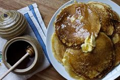 Cornmeal Pancakes with Honey (via marriahlavigne.com)