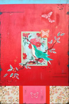 """Kathe Fraga paintings, inspired by the romance of vintage Paris and Chinoiserie Ancienne. """"Be Mine"""" II on aged fresco panel, 24x36. www.kathefraga.com"""