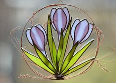 Glass Flowers Stained Glass Crocus Spring by GalaGardensGlassArt
