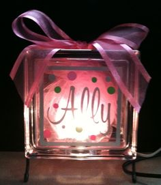 DIY:: Glass block nite light... Great for a baby shower gift.  MORGANNNNN :)