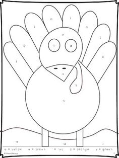 Color by Letter - Vowels - Free!  A fun way to practice letter recognition and letter naming skills for the five vowels. Thanksgiving Turkey Page