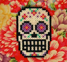 Sugar Skull Perler Coaster by ~cephalo786 on deviantART