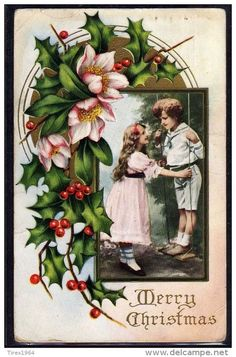NZ174 Xmas COUPLE of CHILDREN HOLLY HELLEBORE GOLD Embossed