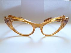 ca01a3cedb Vintage 50s Cat Eye Clear Brown Silver Studs Cut Out Design Eyeglasses  Glasses