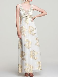 Sue Wong Printed Gown – Metallic with Stole