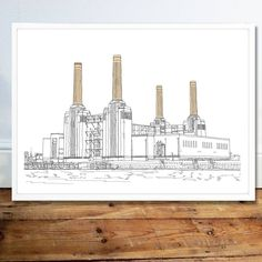 Battersea Power Station, Art Deco Stil, Line Illustration, Tower Of London, River Thames, Beautiful Lines, Picture Sizes, How To Draw Hands, Art Prints
