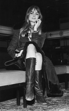 Jean Shrimpton/ At London Airport (now Heathrow), January 1968. Polish her boots and put an iPhone in her hand and this look could be front row, 2012. Photo: Dove