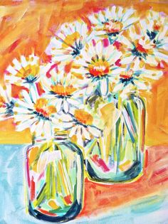 """16 x 20 in """"Daisies of Happiness"""" Acrylic Canvas Painting, Evelyn Henson"""