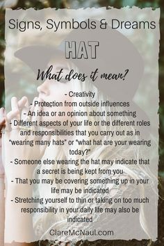 Whose wearing the hat? You or someone else in your dream? Hat can have many possible meanings when it shows up in your dreams, life and psychic and mediumship readings. Symbols And Meanings, Tarot Card Meanings, Dream Interpretation Symbols, Dream Psychology, Facts About Dreams, Dream Symbols, What Dreams May Come, Dream Meanings, Native American Wisdom