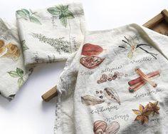 Set of 3 Tea Towels, Flour Sack Towel, Fall Towel Set Dish Towels, Tea Towels, Fabric Decor, Fabric Crafts, Christmas Tea, Flour Sack Towels, Watercolor Design, Towel Set, Print Patterns