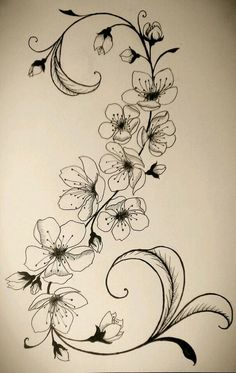 black and white cherry blossom tattoo designs Tattoo Fleur, Flor Tattoo, Geniale Tattoos, Desenho Tattoo, Motif Floral, Blossom Trees, Trendy Tattoos, Back Tattoo, Tattoo Ribs