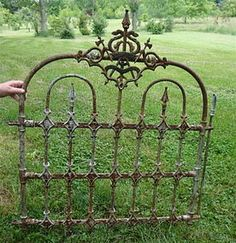 "❤COTP & R/S, tons of old gates, love this site.❤ We hvae some lovely ""new"" vintage garden fence and gates, we are using them to create trellises! Bamboo Fence, Metal Fence, Glass Fence, Fence Stain, Pallet Fence, Fence Art, Farm Fence, Diy Fence, Garden Gates And Fencing"