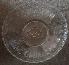 King George VI May 12 1937 Large 10  Pressed Clear Glass British Coronation Bowl