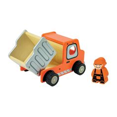 I'm Toy Dump Truck. A great truck to encourage children's imagination and role play, reverse up to the construction site, load the dirt then take it to the dumping zone.  All in a days work for the mighty dump truck and driver.  Made from Sustainable rubber wood and finished with non-toxic paint.  16cm x 21cm x 12.5cm  Ages 18m+