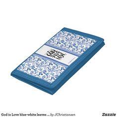God is Love blue-white leaves stripes custom name Trifold Wallet