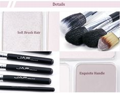 JAF 12pcs Portable Nylon Animal Hair Makeup Brush Set with Cylindrical Storage Bag