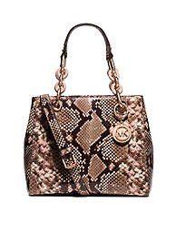 Women's Top-Handle Handbags - Michael Kors Cynthia SMALL Leather Satchel BLOSSOMPYTHON *** For more information, visit image link.