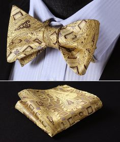 BFC002Y Yellow Gold Brown Paisley Woven Men Silk Self Bow Tie Pocket Square set