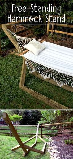 "Hammocks make for the ultimate backyard ""staycation."" Nothing says summer quite like reading a book in a hammock! This free-standing wood hammock stand uses basic, pressure-treated wood posts, deck screws, and 45-degree angles to create a custom-looking stand for about $60 — much less than the average cost of a store-bought hammock base! This project creates a hammock base that's 13-feet long from eye bolt to eye bolt, making it the perfect length for 11-foot-long hammocks. #deckcost"