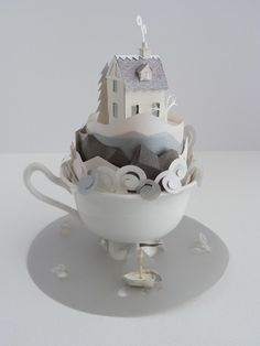 house in a cup (paper art by artist/illustrator Helen Musselwhite)