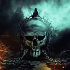 Skull with a crow Arte Horror, Horror Art, Dark Fantasy Art, Dark Art, Style Punk Rock, Art Of Dan, Grim Reaper Art, Monster Pictures, Badass Skulls