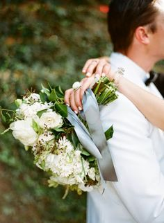 romantic white hand-tied bouquet by Without Wax, Katy