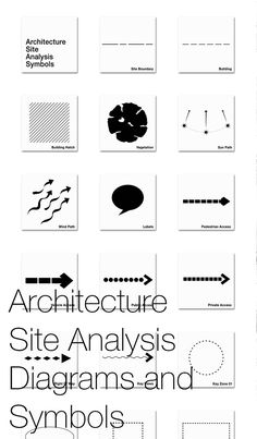 Architecture Site Analysis Diagrams and Symbols One of the most effective methods of site analysis presentation is to include a map based diagram or drawing, with graphic and symbol overlays to show the sites characteristics and features. Architecture Site, Architecture Symbols, Site Analysis Architecture, Architecture Design Concept, Architecture Art Nouveau, Architecture Sketchbook, Architecture Graphics, Architecture Quotes, Architecture Diagrams