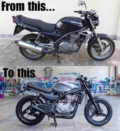 From this.to this Kawasaki edition - Scrambler / cafe racer - Motorrad Kawasaki Cafe Racer, Suzuki Cafe Racer, Gs 500 Cafe Racer, Cafe Racer Build, Honda Scrambler, Cafe Racer Motorcycle, Moto Bike, Motorcycle Design, Triumph Motorcycles