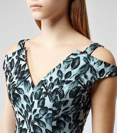 Womens Blue Textured Floral Print Dress - Reiss Marte