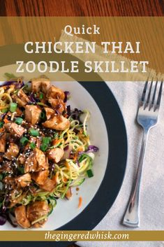 This quick and easy chicken skillet meal is infused with thai flavors and lots of veggies - including zoodles! The whole family will love it! Easy Thai Recipes, Yummy Chicken Recipes, Yum Yum Chicken, Fall Recipes, Easy Skillet Meals, Quick Meals, Healthy Family Dinners, Fusion Food, 30 Minute Meals