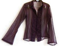 Purple Mesh Top Long Sleeves Buttons Down Fashion 90s Women's Clothing Dark…