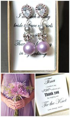 Lavender earringslavender Purple gray by thefabbridaljewelry, $35.99