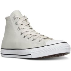 Converse Men's Chuck Taylor All Star Hi Seasonal Leather Casual... ($70) ❤ liked on Polyvore featuring men's fashion, men's shoes, men's sneakers, converse mens sneakers, mens black leather high top sneakers, mens leather shoes, mens high top shoes and converse mens shoes
