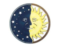 Sun and Moon Wall Art hand painted wood cut out by FischerFineArts