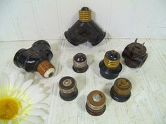 Vintage Collection of Electrical Outlets Lighting Sockets Variety of 8 Pieces - Interchangeable Light Socket Electric Plug Group of 8 Pieces by DivineOrders