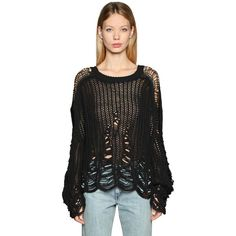 Diesel Women Destroyed Mesh Knit Sweater (433 CAD) ❤ liked on Polyvore featuring tops, sweaters, black, diesel sweaters, long sleeve sweater, ripped sweaters, long sleeve knit top and mesh knit sweater