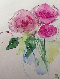 """Aquarell , Aquarellpostkarte """" Rosenstrauß """", Blumen, Unikat 14,8 x 10,6 cm"""
