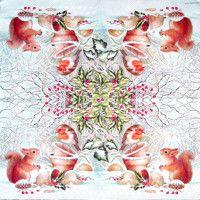 Servítka - Veverička a vtáčik v zime - malá