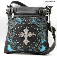 Black and Turquoise Zip-Front Rhinestone Cross Messenger Bag Purse