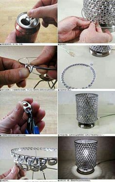 Pretty nifty lamp made out of soda can tabs. Kudos to whoever has the time and patience to do this!