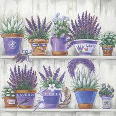 4 designer napkins with a charming print of lavender flowerpots, printed in Holland on 3-ply paper. These are perfect for paper arts and crafts of many kinds,including collage and decoupage on glass, wood, candle, scrap booking , mixed media, and DIY projects.  Each napkin measures 13″ x 13″ (33 x 33 cm).  You will receive 4 napkins with this order.  This design is also available in another size, cocktail(10x10) at https://www.etsy.com/listing/225335901/decoupage-pap...