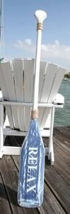 Wooden Distressed Paddle-White & Blue Relax- 5'5