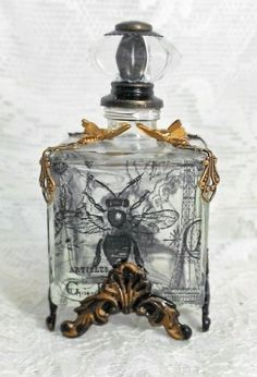 Artfully Musing: French Themed Altered Bottles Tutorial - Bottle Patinas & Applying Vellum & Transparency Film
