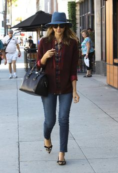 For a chic take on the accessory, do like Jessica Alba, and look for a wide-brim fedora. The style is classic but casual and works best paired with jeans and sweaters or a plaid top.                   Source: Getty / SMXRF/Star Max