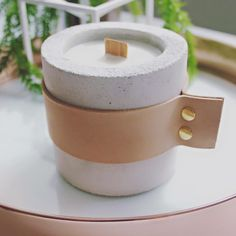 Har Luxe Concrete & Leather Candles :: you can personalize with initials stamped on the wood wicks!