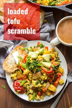 Tofu scramble with the works! This savory vegan breakfast is packed with flavor and loaded with crispy potatoes, juicy red bell peppers and hearty kale. Easy, delicious, and packed with protein! Vegan Gluten Free Breakfast, Tofu Breakfast, Vegan Breakfast Recipes, Breakfast Ideas, Tofu Recipes, Whole Food Recipes, Cooking Recipes, Healthy Recipes, Lunch Recipes